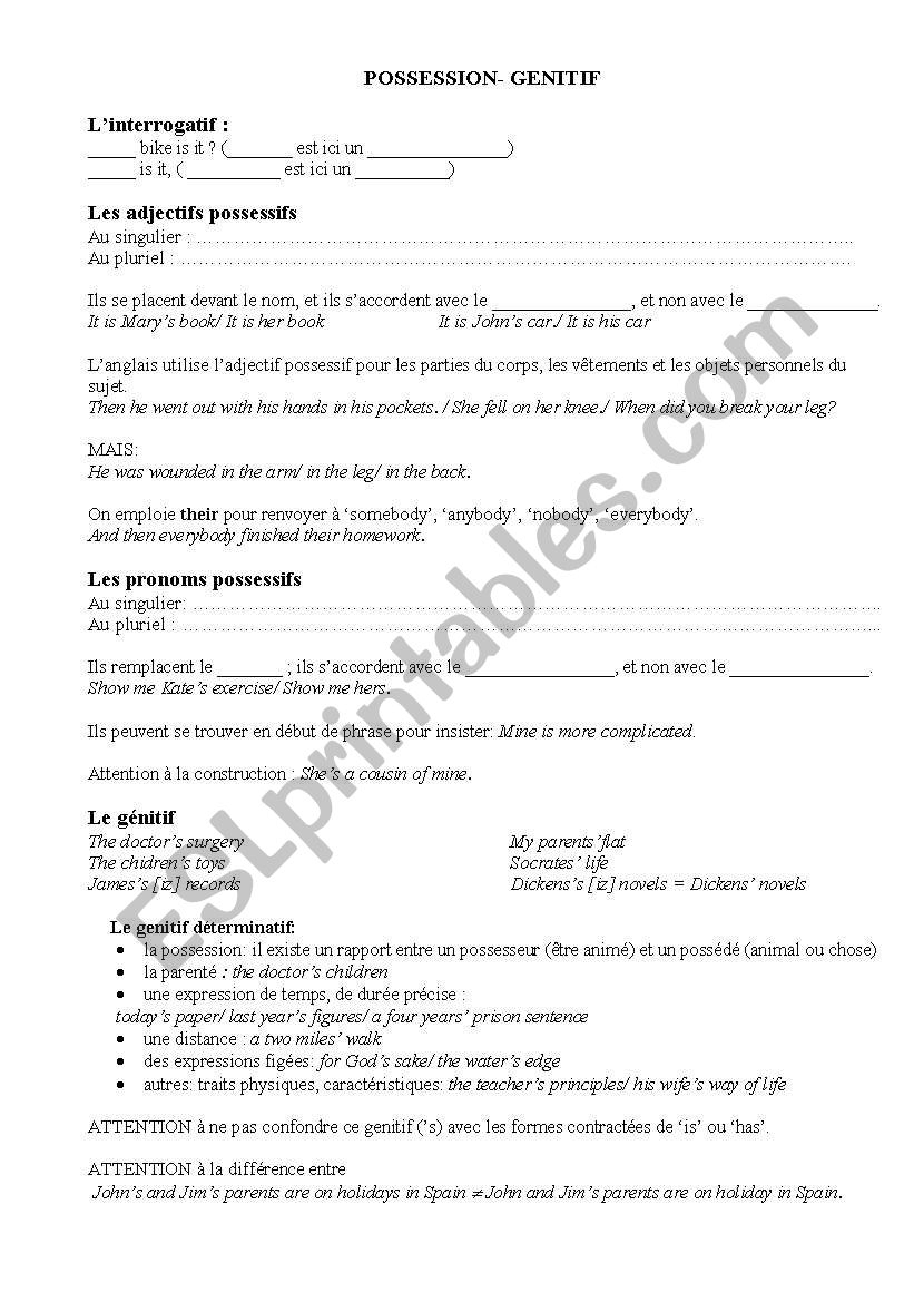 English Worksheets: Possession/ Genitive/ ´s à Trouver Les Difference