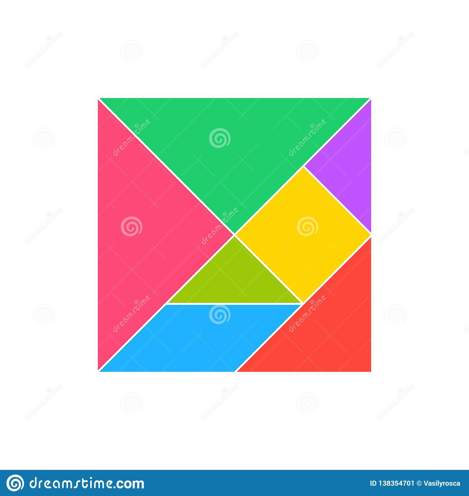 Ensemble Carré De Puzzle De Tangram Chinois Géométrique D concernant Tangram Carré