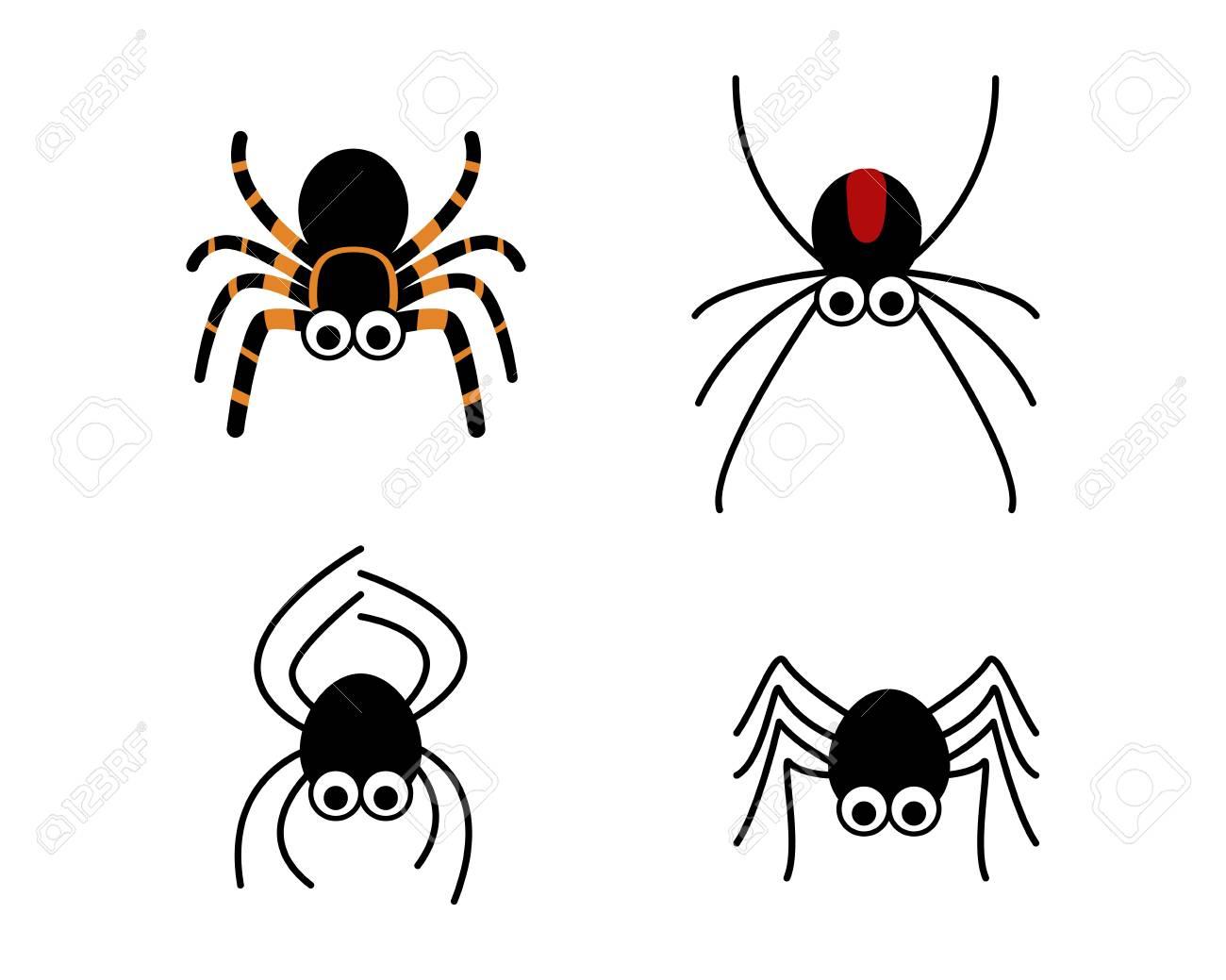 Ensemble D'araignée Mignonne Dans Un Style Simple, Dessin Vectoriel serapportantà Dessiner Une Araignee