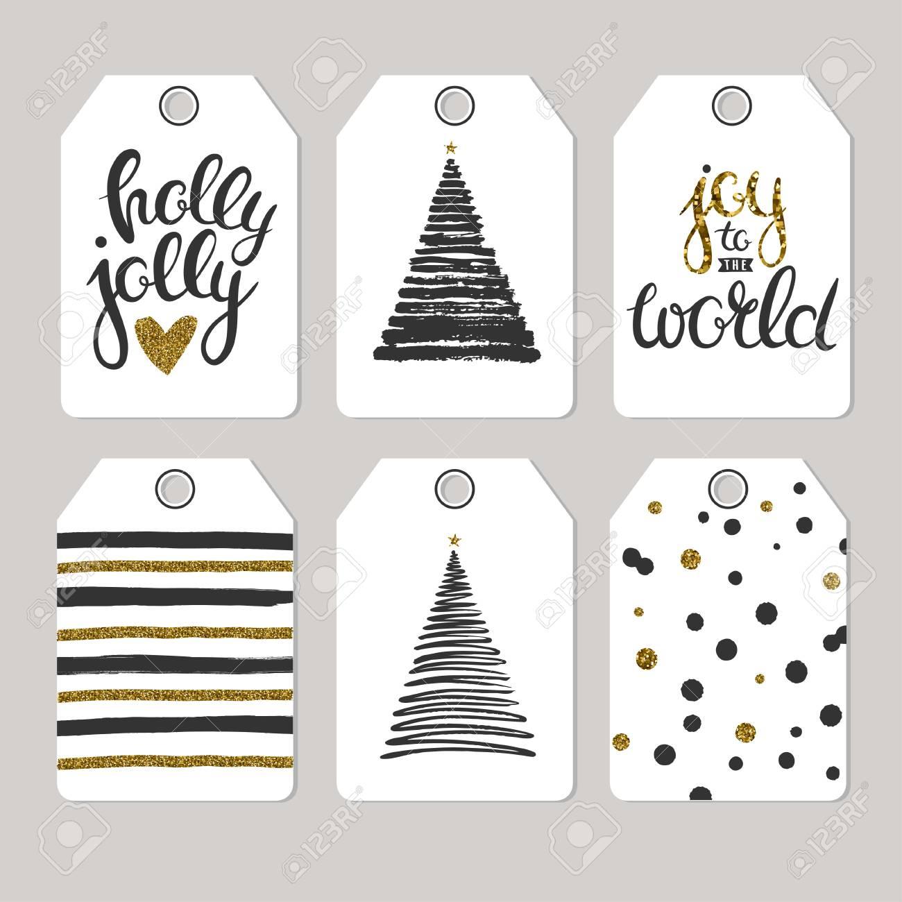 Ensemble De Balises De Noël Pour Des Cadeaux Et Des Cadeaux. Vector Cadeau  Imprimer Des Étiquettes Isolé Sur Fond Gris. tout Etiquette Pour Cadeau De Noel
