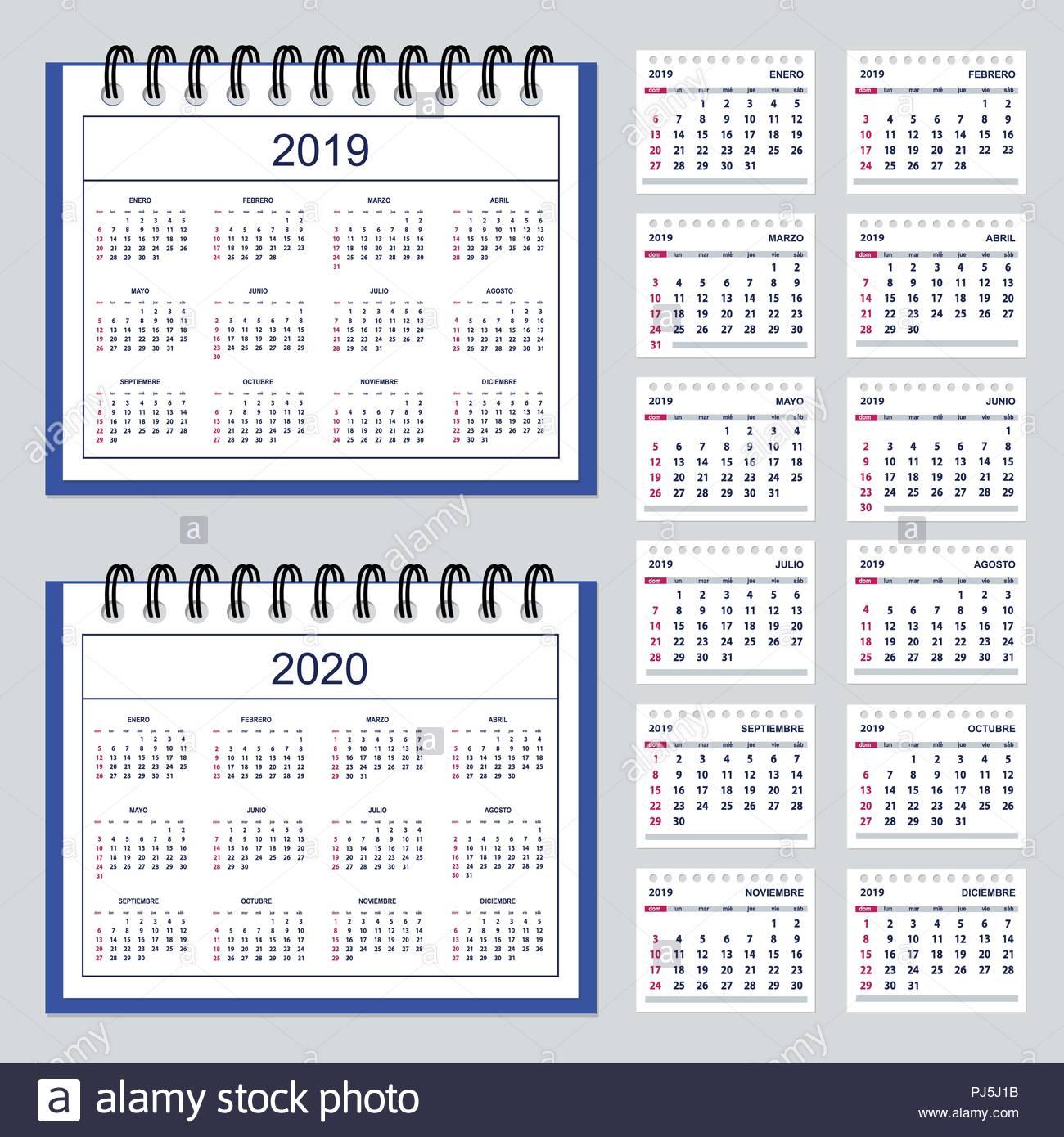 Ensemble De Bureau D'affaires Pour L'année Calendrier 2019 intérieur Calendrier 2019 Avec Semaine