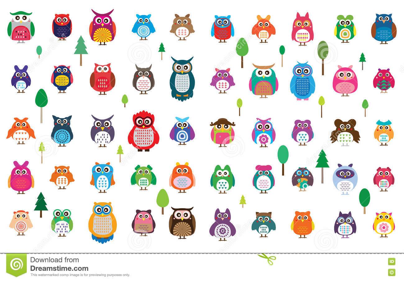 Ensemble De Couleur Du Hibou 50 Illustration De Vecteur pour Hibou Dessin Couleur