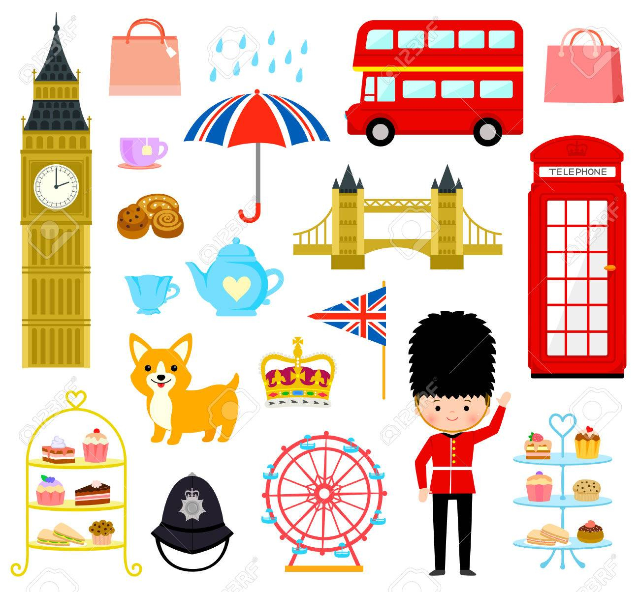 Ensemble De Dessins Animés Mignons Liés À Londres Et En Angleterre destiné Dessin De Angleterre