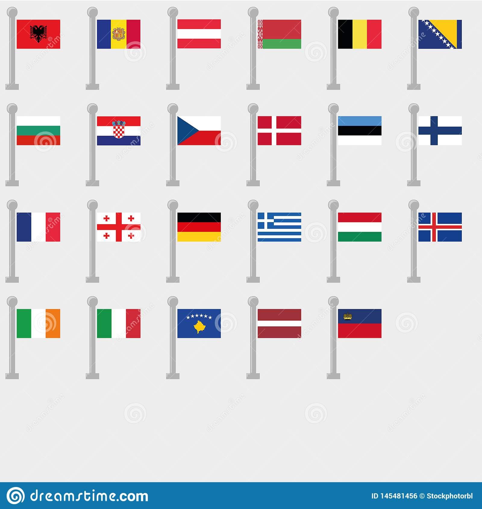 Ensemble De Drapeau De Tous Les Pays De L'europe Collection encequiconcerne Tout Les Pays D Europe