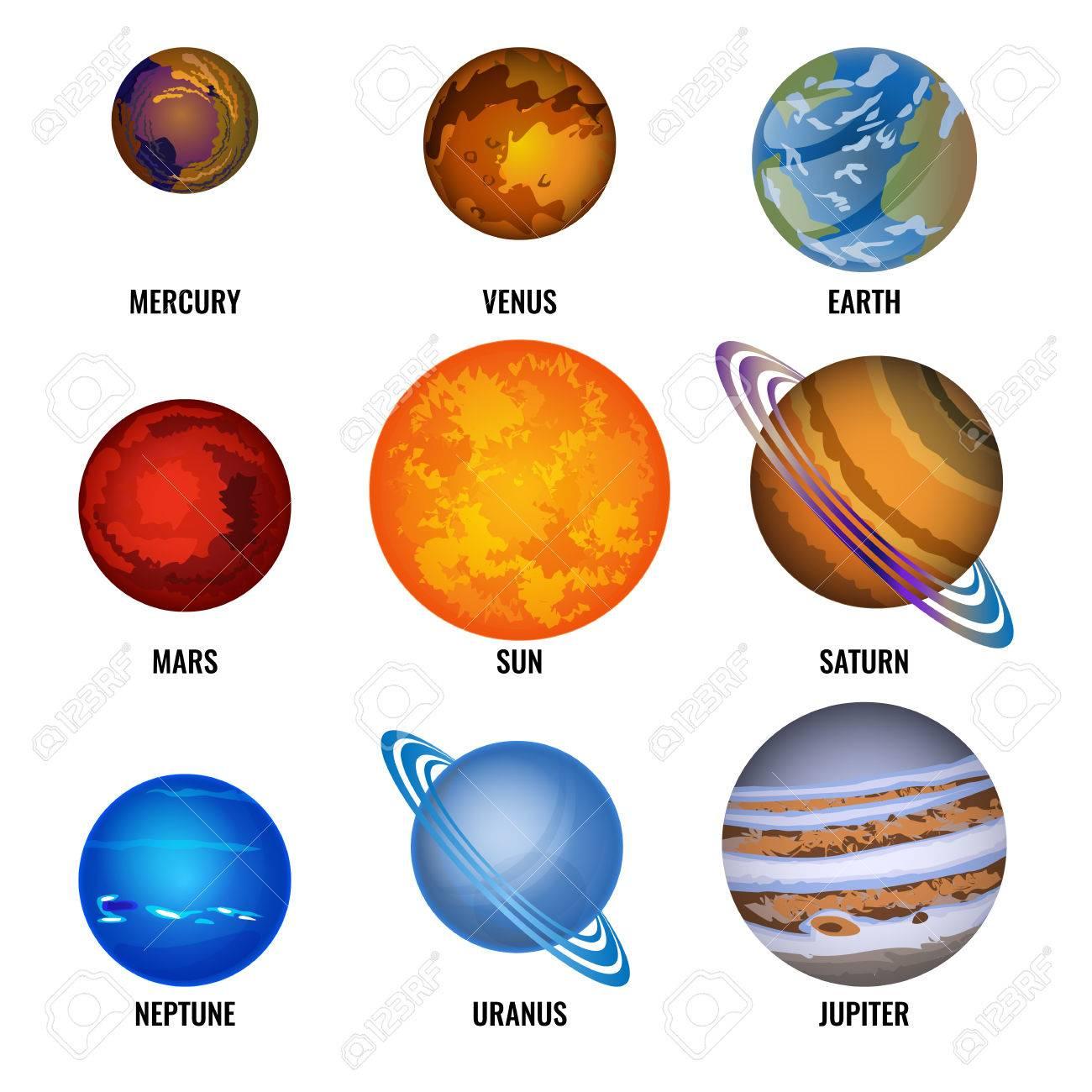 Ensemble De Planètes De L'illustration Vectorielle Du Dessin Animé Du  Système Solaire. Le Plus Petit Mercure, La Vénus Tournante, La Terre  Habitée, Le destiné Dessin Du Système Solaire