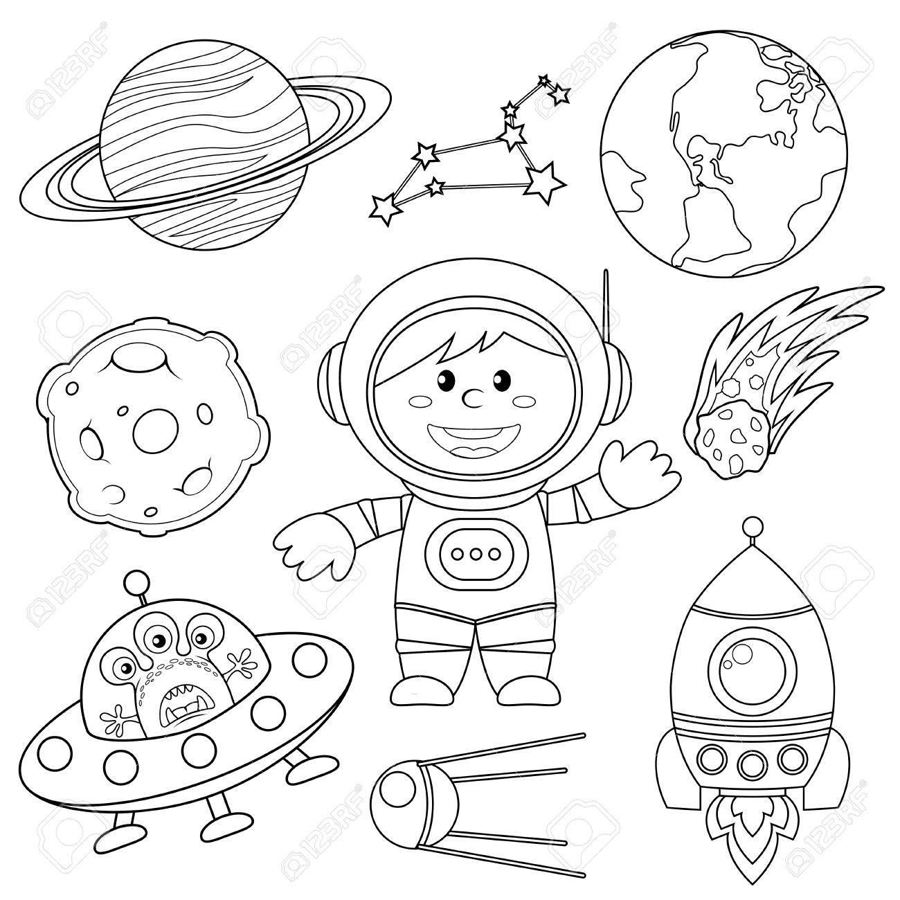 Ensemble D'éléments D'espace. Astronaute, Terre, Saturne, Lune, Ovni,  Fusée, Comète, Constellation, Spoutnik Et Étoiles. Illustration Noir Et  Blanc avec Coloriage Astronaute