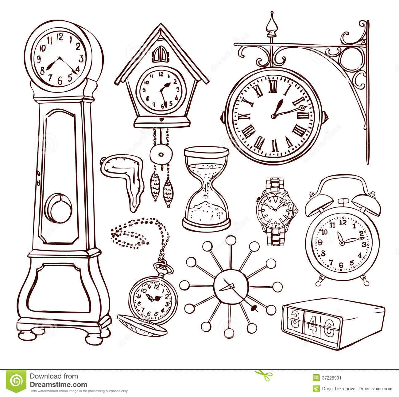 Ensemble D'horloge Différente Illustration De Vecteur avec Dessin D Horloge