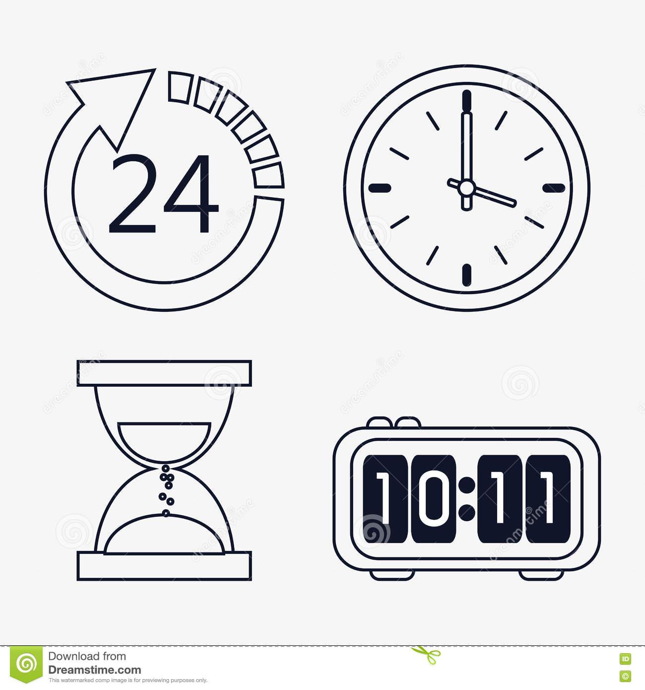 Ensemble D'icône D'horloges De Silhouette Conception De tout Dessin D Horloge