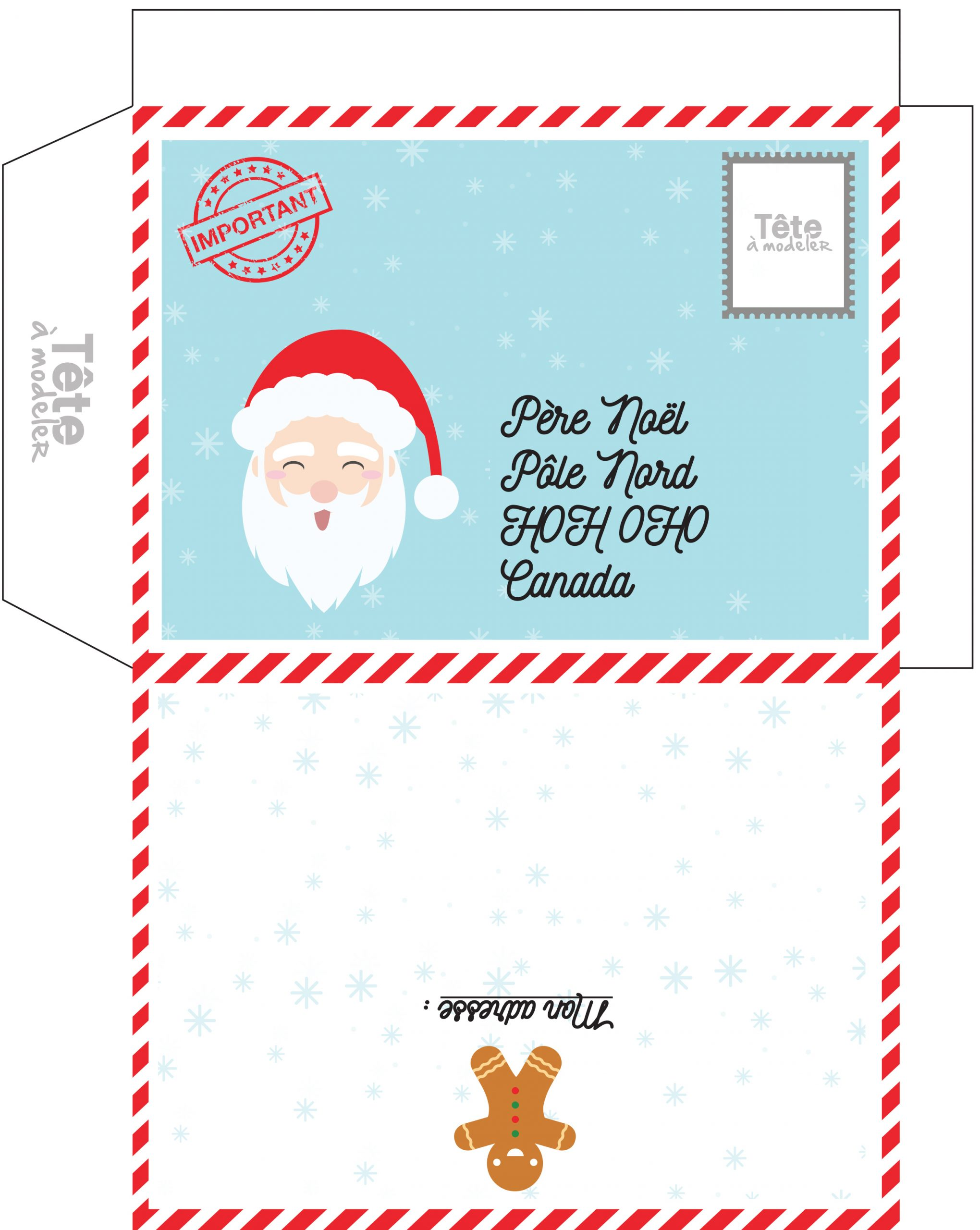 Enveloppe De Noël À Imprimer Pour Le Canada à Pere Noel A Imprimer Et A Decouper
