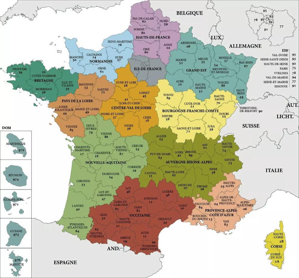 Épinglé Par Christine Bernard Sur Cours De Français En 2020 pour Carte Des Régions Et Départements De France À Imprimer