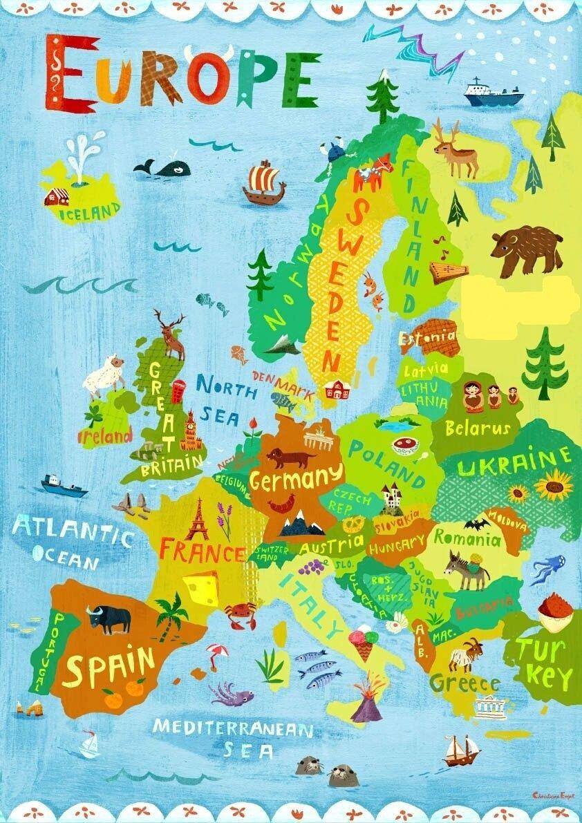 Épinglé Par Dymitry Feodorow Sur Ciekawostki | Carte Europe destiné Carte Europe Enfant