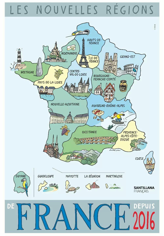 Épinglé Par France,francés, Français, French, Fle, Fsl Sur encequiconcerne Carte Des Régions De France 2016