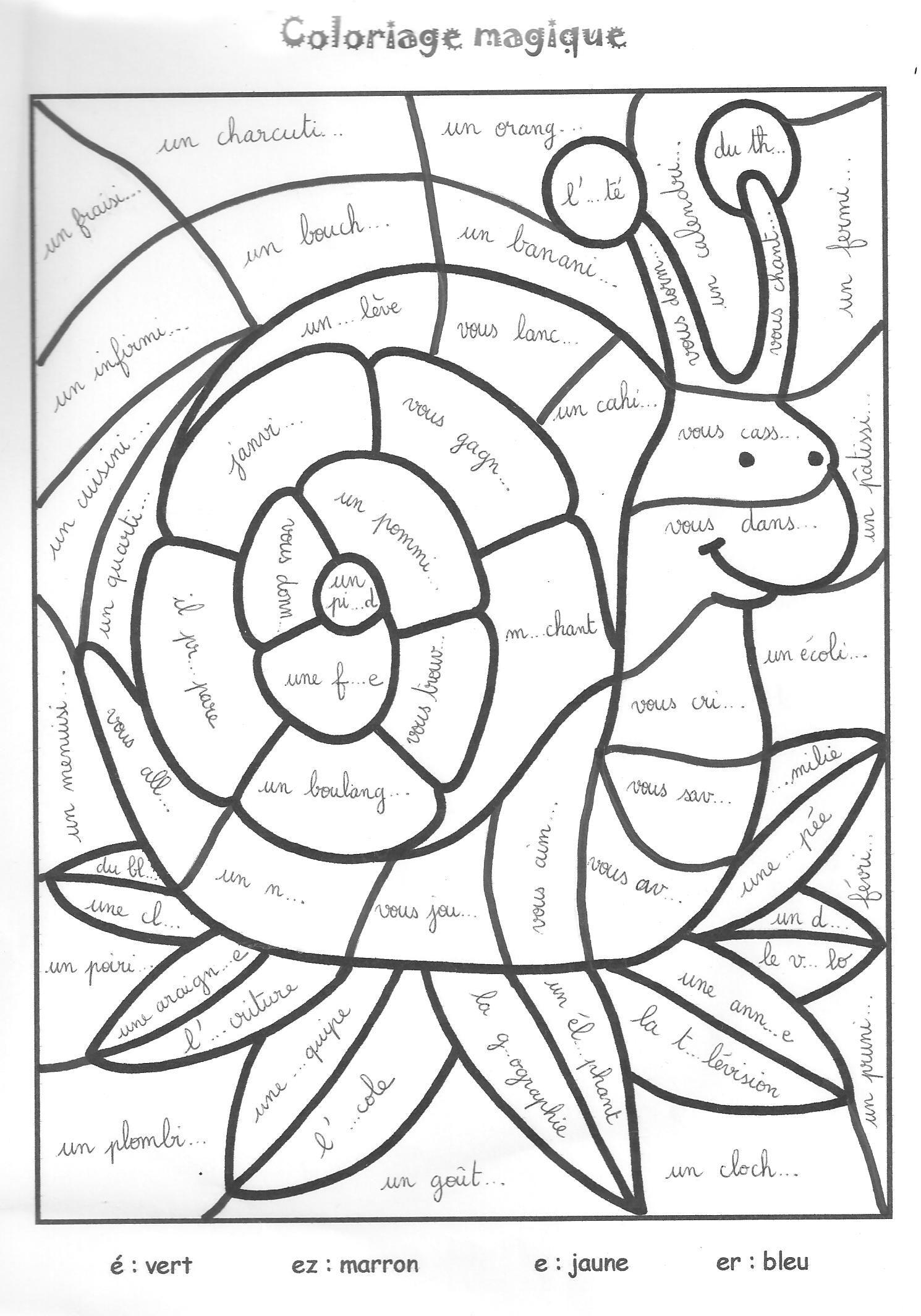 Épinglé Sur Grammaire- Conjugaison pour Hugo L Escargot Coloriage Mandala