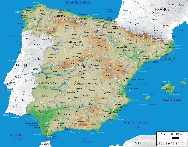 Espagne Carte Géographique - Carte De L'espagne Géographie serapportantà Carte Géographique Europe