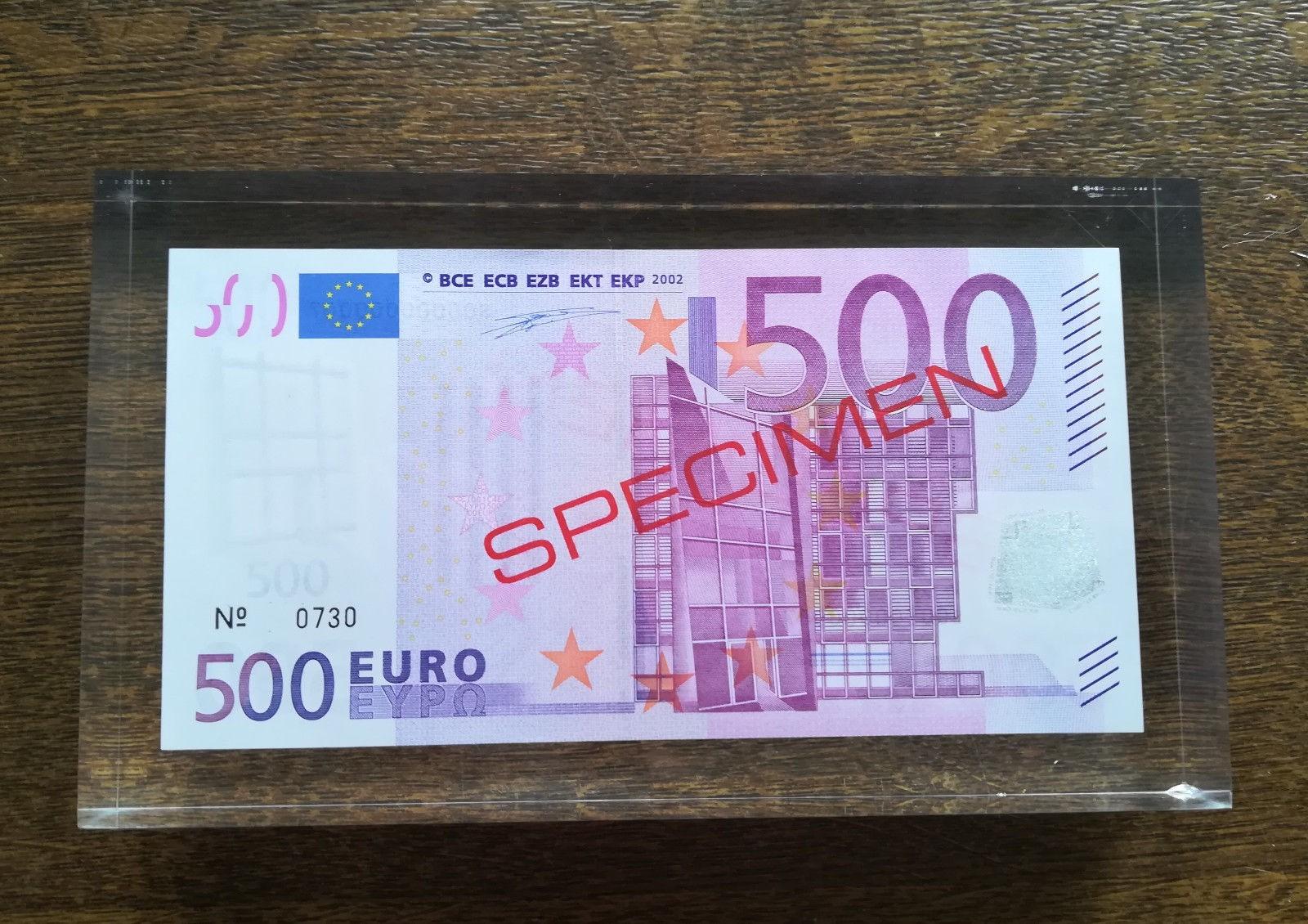 Essai Billet 500 Euro Dans Bloc Plexi Specimen De La Bce concernant Fausses Pieces Euros
