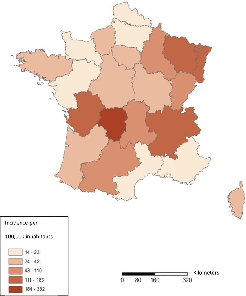 Estimated Incidence Of Lyme Borreliosis By Region, 2013-2017 avec R2Gion France