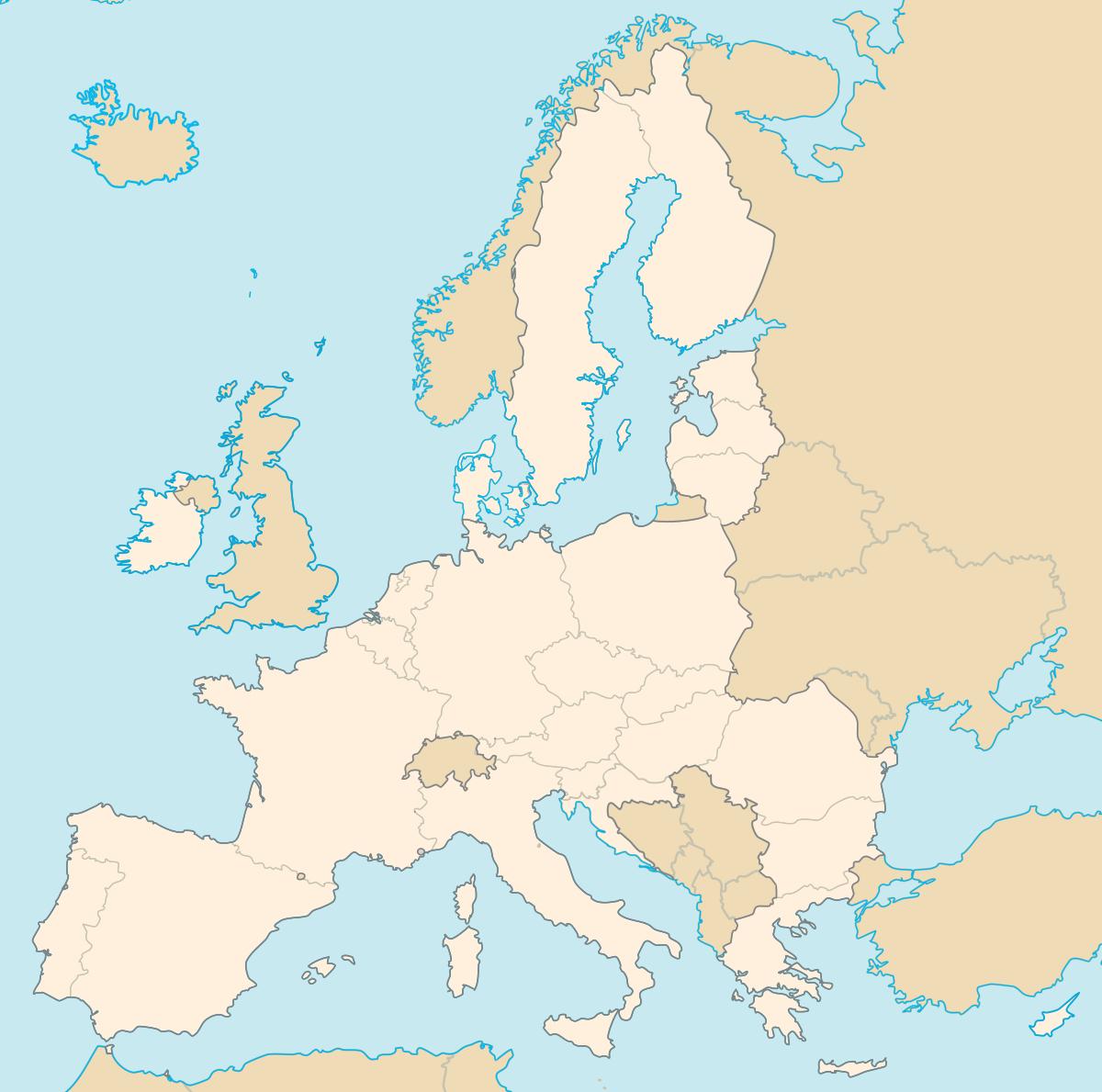 États Membres De L'union Européenne — Wikipédia destiné Carte De L Europe Vierge