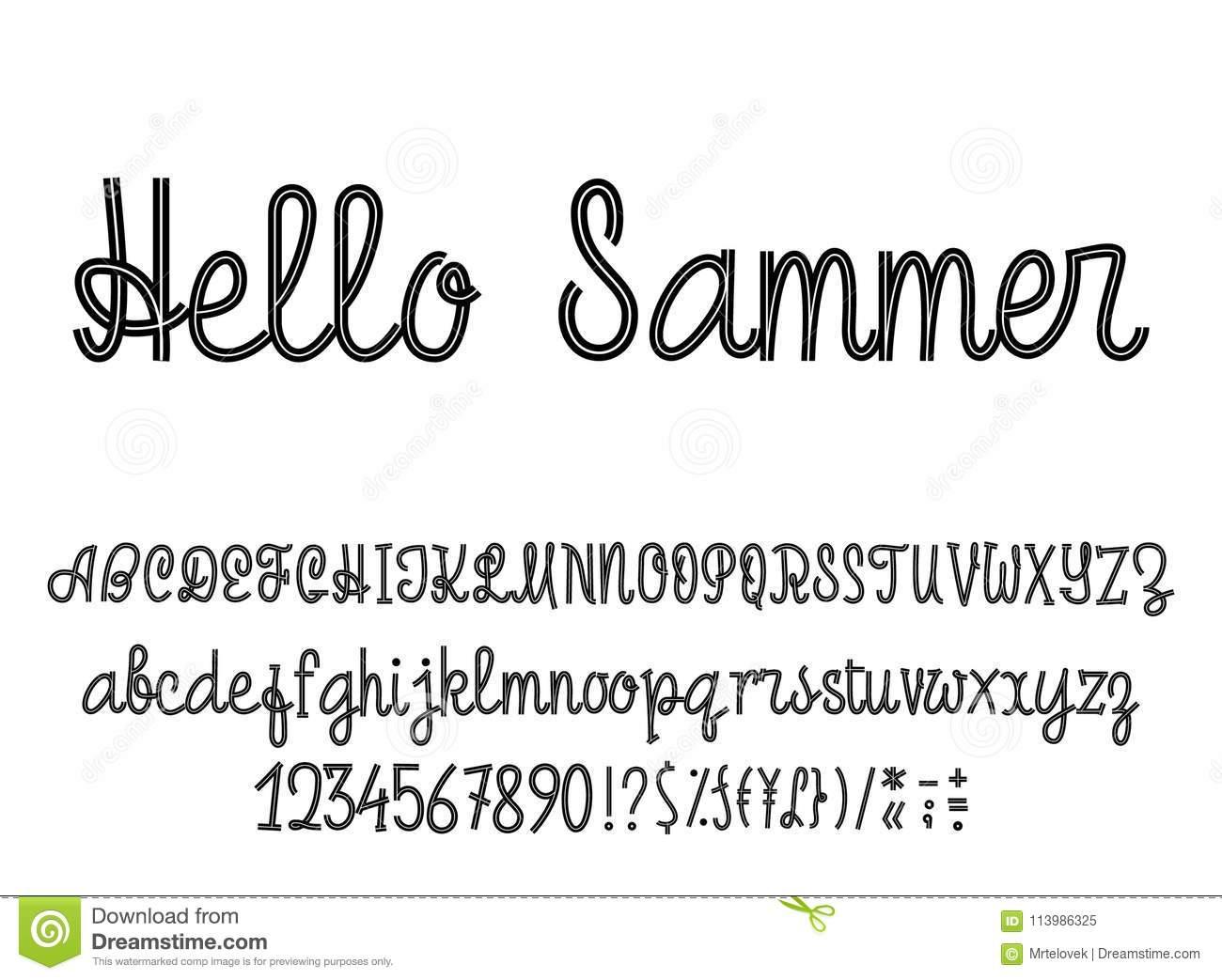Été D'alphabet Latin Bonjour Écriture De Police Avec Des à Alphabet Majuscule Et Minuscule