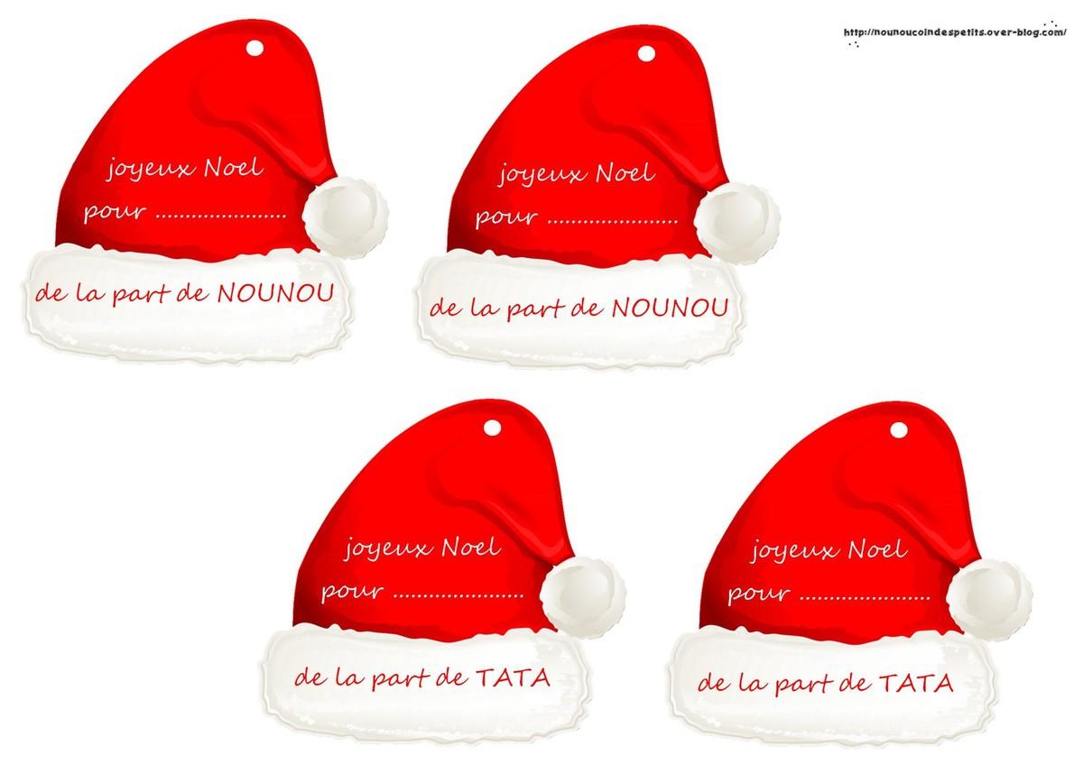 Etiquette Cadeau Bonnet De Noel .. (De La Part De Nounou Ou avec Etiquette Pour Cadeau De Noel