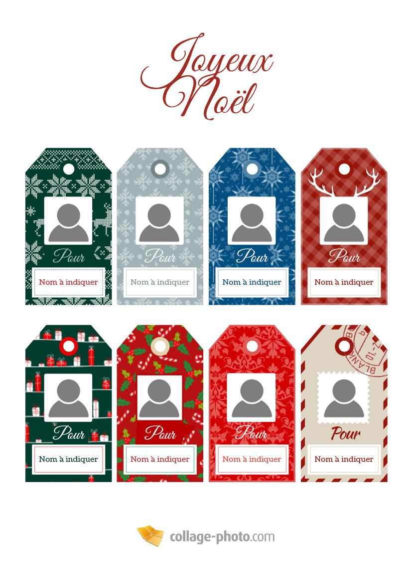 Étiquette Cadeau De Noël - Collage-Photo à Etiquette Noel A Imprimer