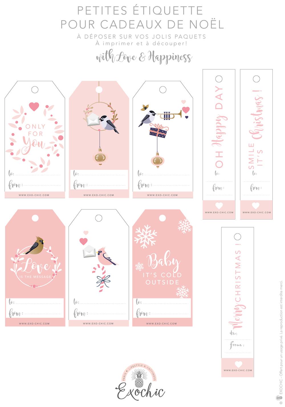 Étiquette De Noël À Imprimer Gratuitement | Exo-Chic pour Etiquette Cadeau Noel A Imprimer Gratuitement