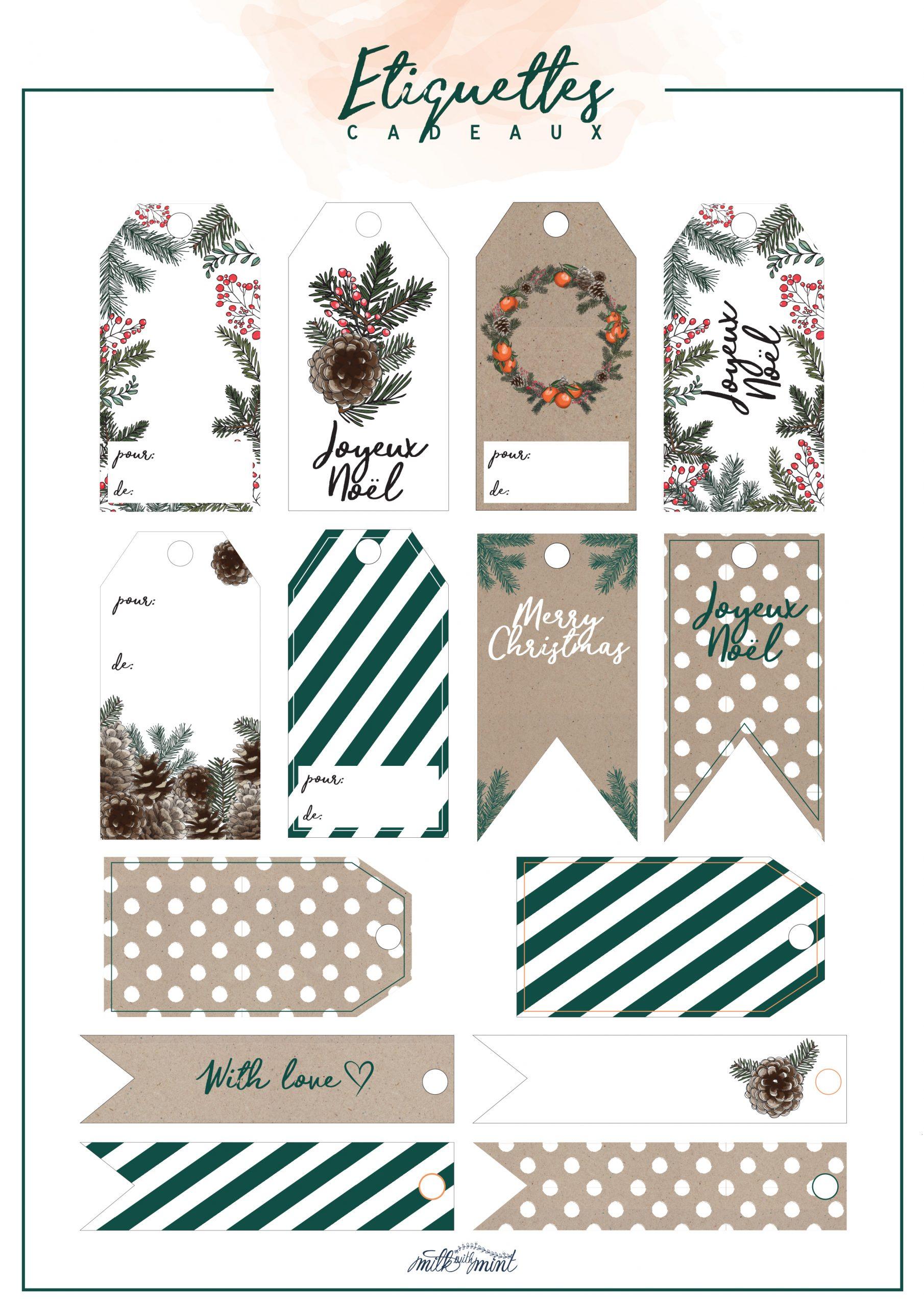 Étiquettes Cadeaux 2017 - Milk With Mint serapportantà Etiquette Pour Cadeau De Noel