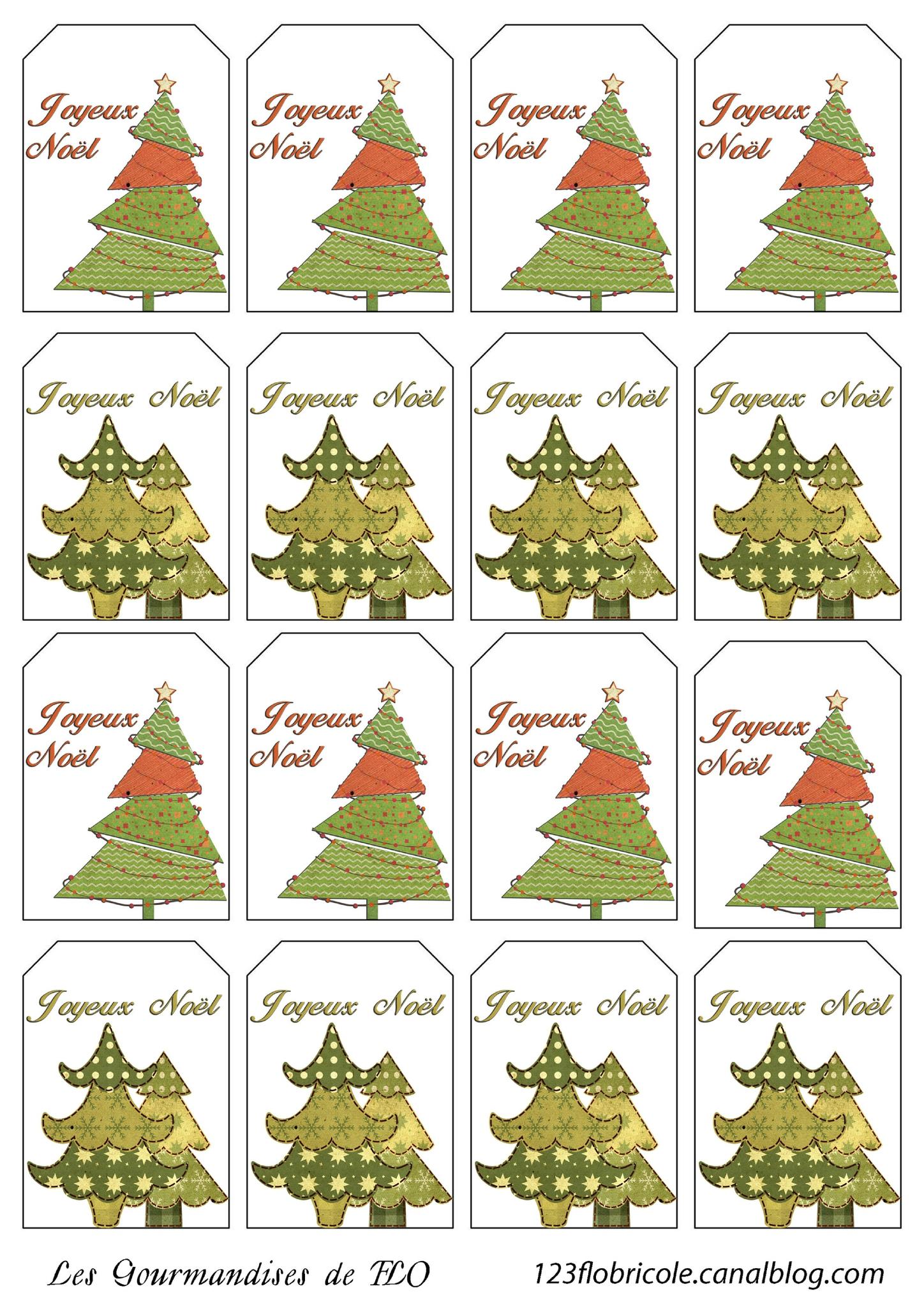 Etiquettes Cadeaux À Imprimer : Sapins De Noël - 1 2 3 Flo intérieur Etiquette Noel À Imprimer