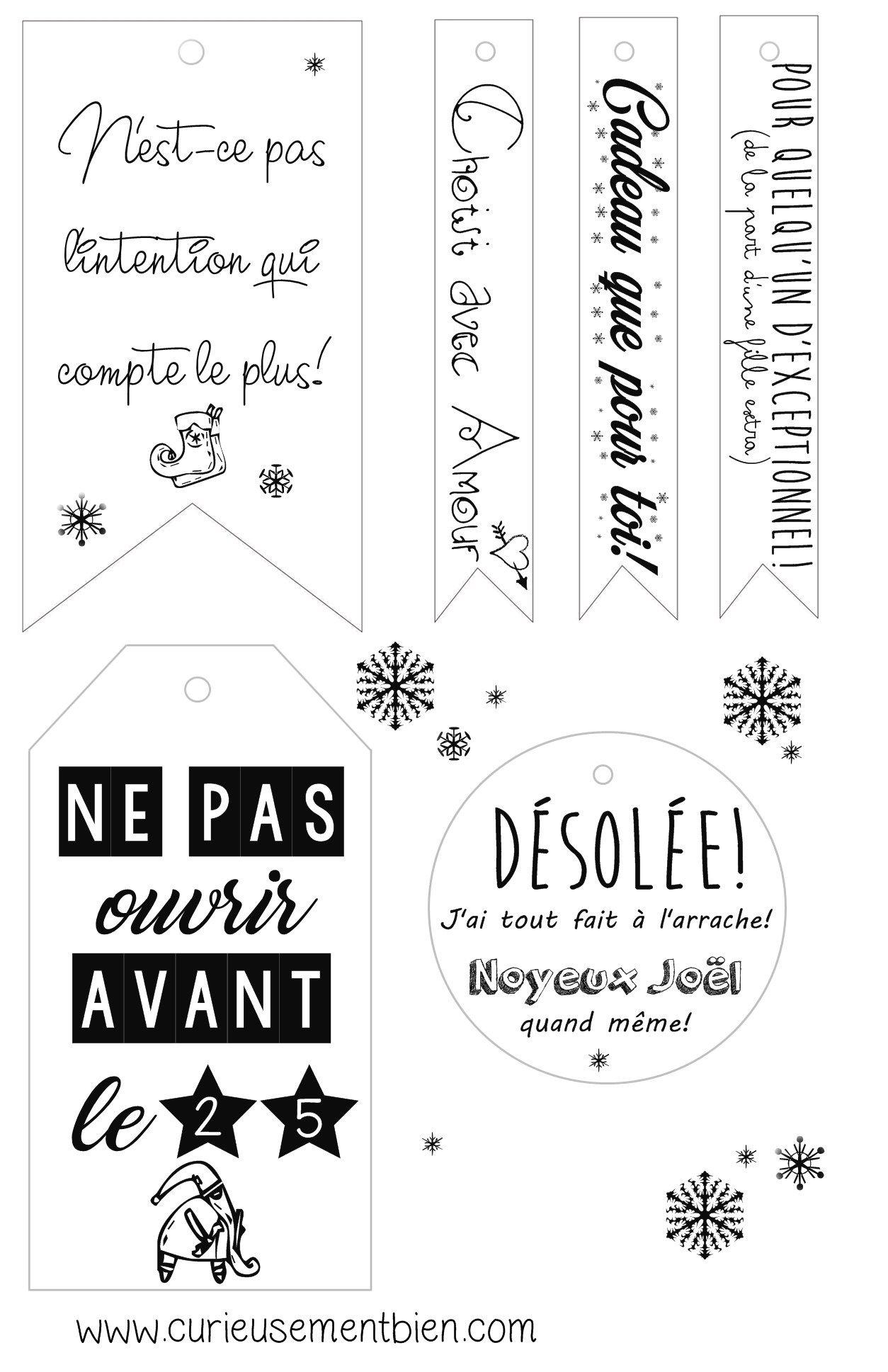 Étiquettes Cadeaux De Noël, Pour Personnaliser Vos Paquets concernant Etiquette Pour Cadeau De Noel