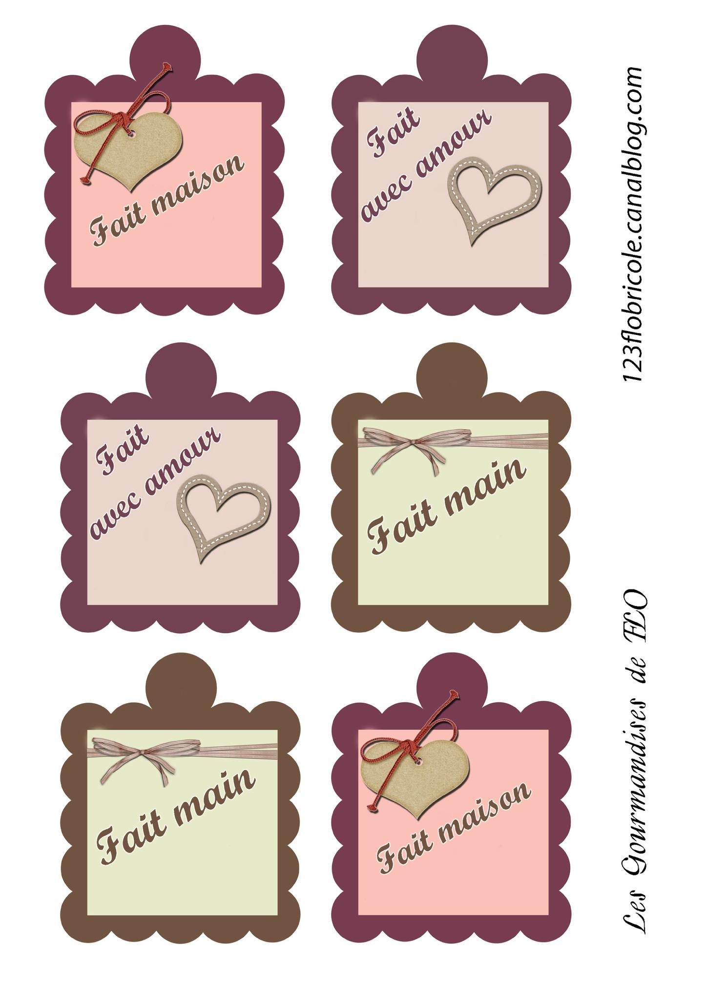 """Etiquettes Cadeaux """"fait Main"""" - 1 2 3 Flo Bricole : Les avec Etiquette Cadeau Noel A Imprimer Gratuitement"""