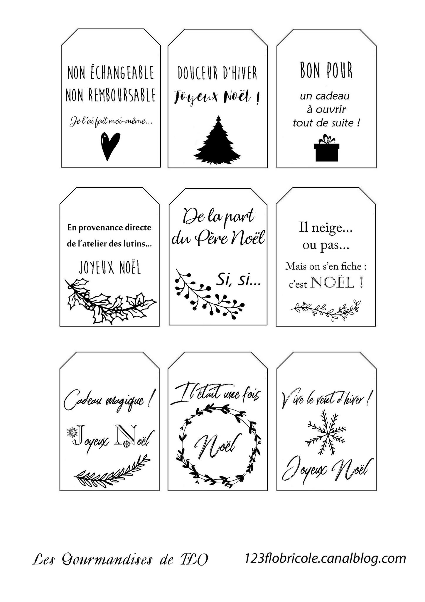 Etiquettes Cadeaux : Un Peu D'humour - 1 2 3 Flo Bricole concernant Etiquette Pour Cadeau De Noel