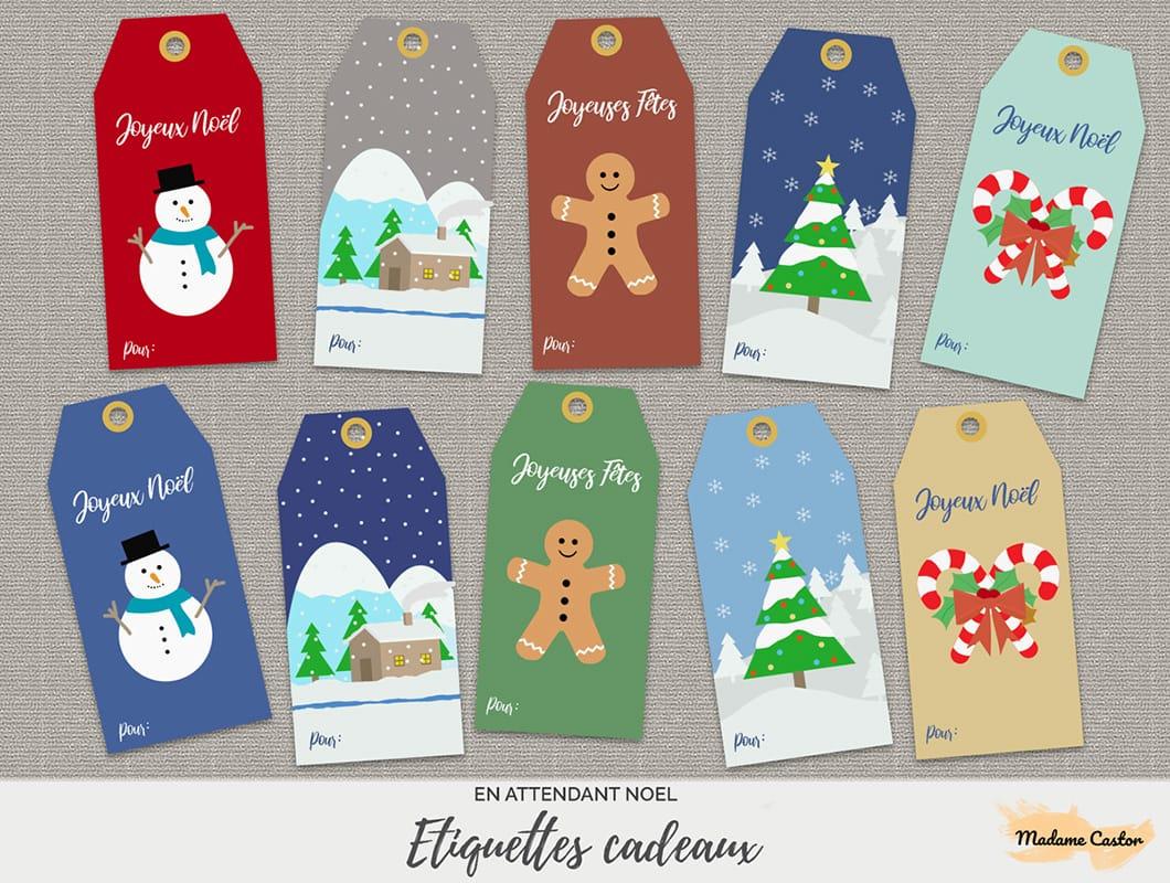 Étiquettes De Noël - Free Printable - Madame Castor dedans Etiquette Noel À Imprimer
