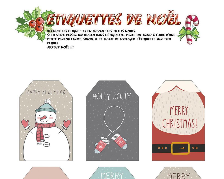 Étiquettes De Noël Merry Christmas avec Etiquette Noel A Imprimer