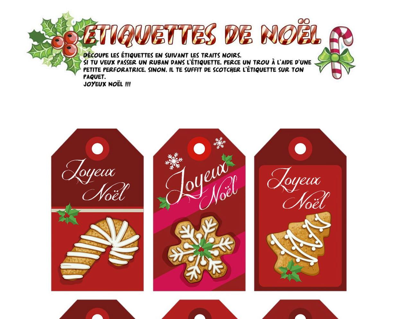 Étiquettes De Noël Sucreries Et Pain D'épice à Etiquette Noel A Imprimer