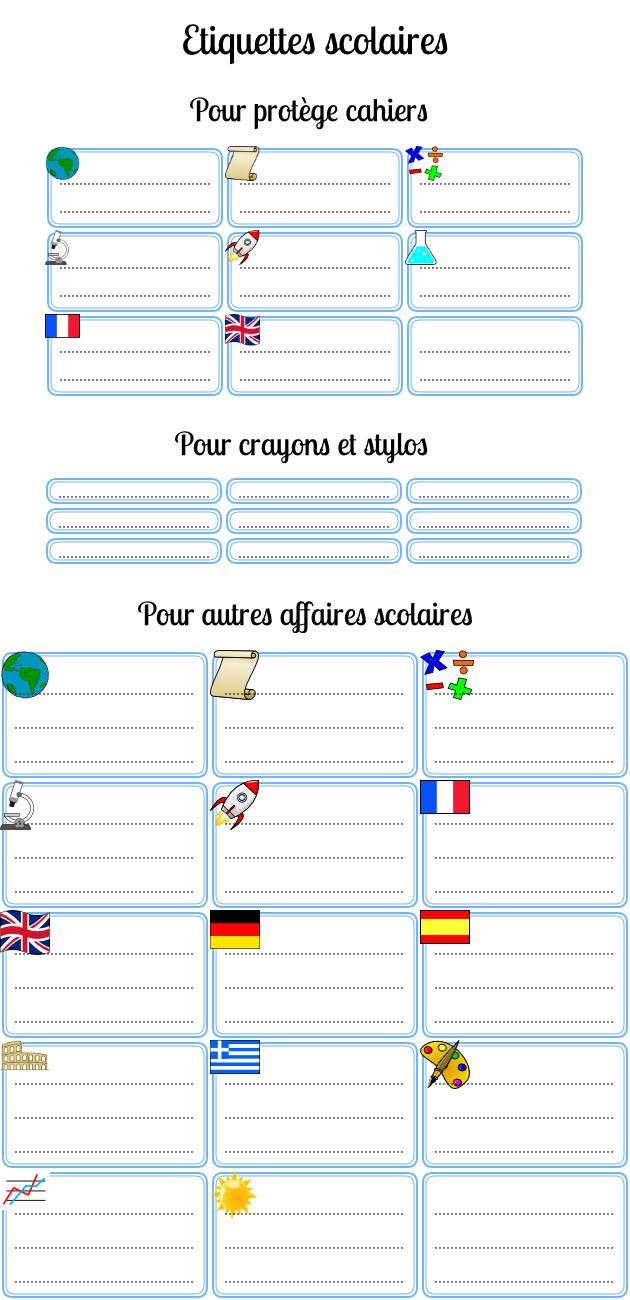 Étiquettes Scolaires Gratuites Pour L'école À Imprimer à Cahier De Vacances Gratuit A Imprimer 6Eme 5Eme