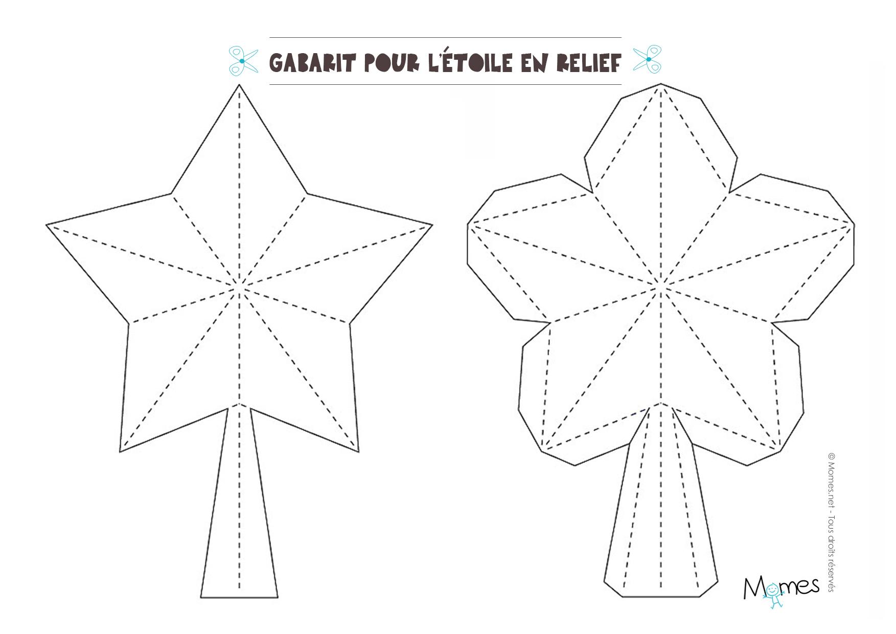 Etoile Pour Le Sapin À Fabriquer - Momes encequiconcerne Gabarit Sapin De Noel
