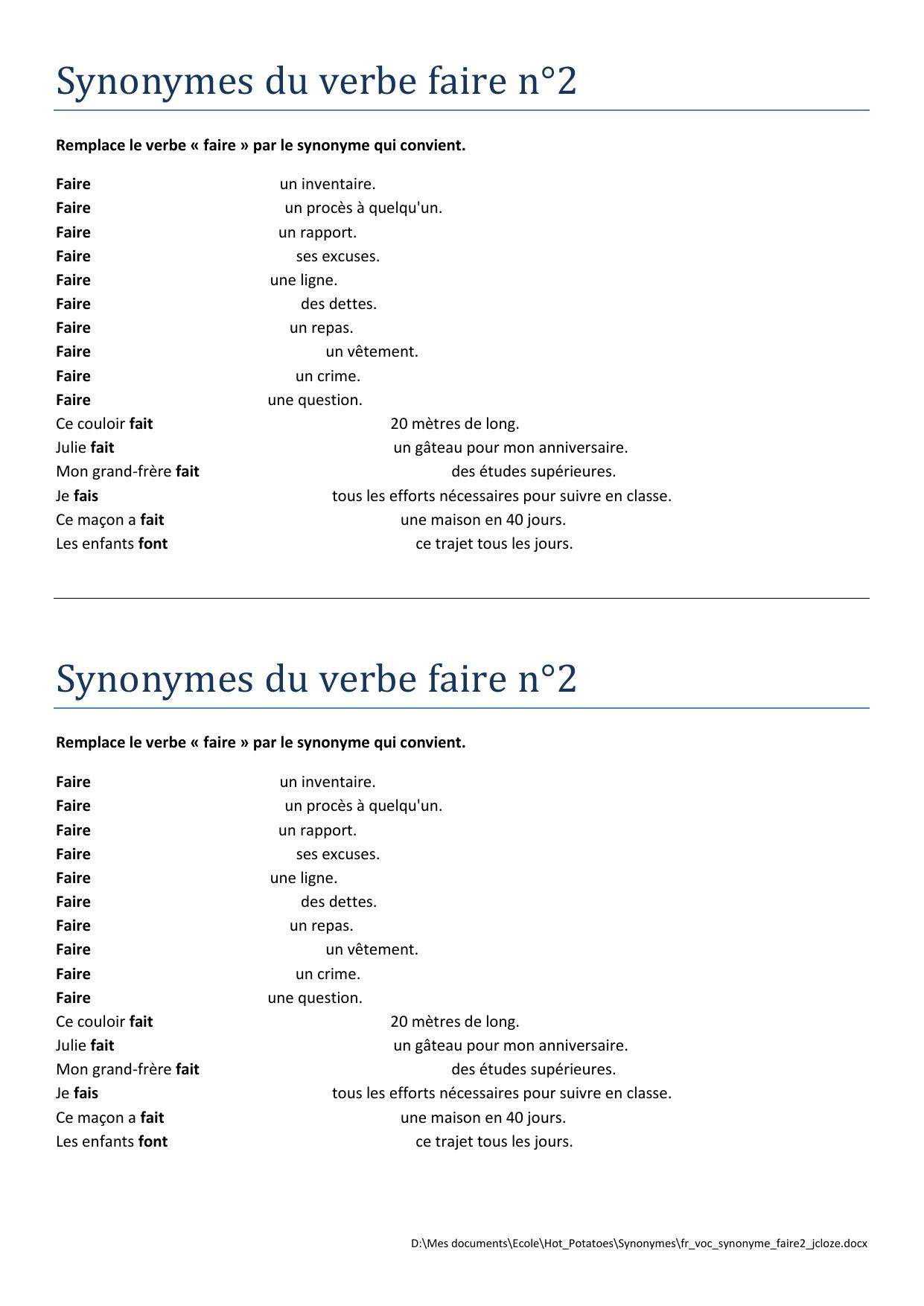 Etudes Et Exercices Sur Les Synonymes Francais Free Download intérieur Exercice Gs En Ligne