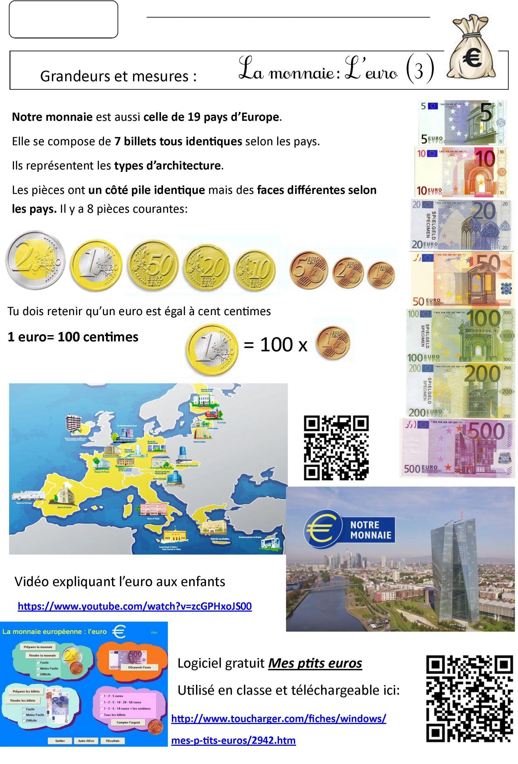 Euro Ce2 | Le Blog De Monsieur Mathieu encequiconcerne Pièces Et Billets En Euros À Imprimer