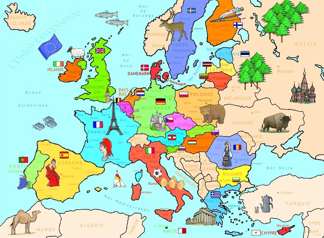 Europe - Carte Avec Symboles Des Pays » Vacances - Arts concernant Carte D Europe Avec Pays
