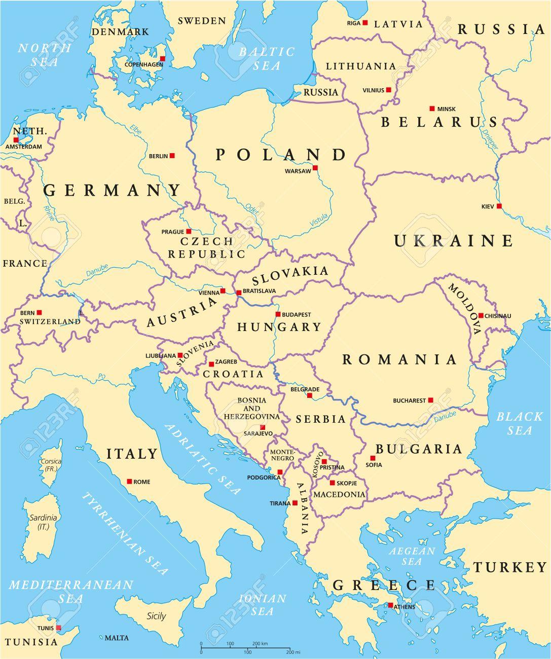 Europe Centrale Carte Politique Avec Les Capitales, Les Frontières  Nationales, Les Rivières Et Les Lacs. Étiquetage Anglais Et Mise À  L'échelle. avec Carte Europe Avec Capitales