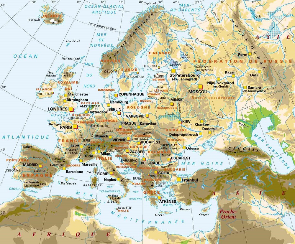 Europe Centrale Géographie tout Carte De L Europe Détaillée