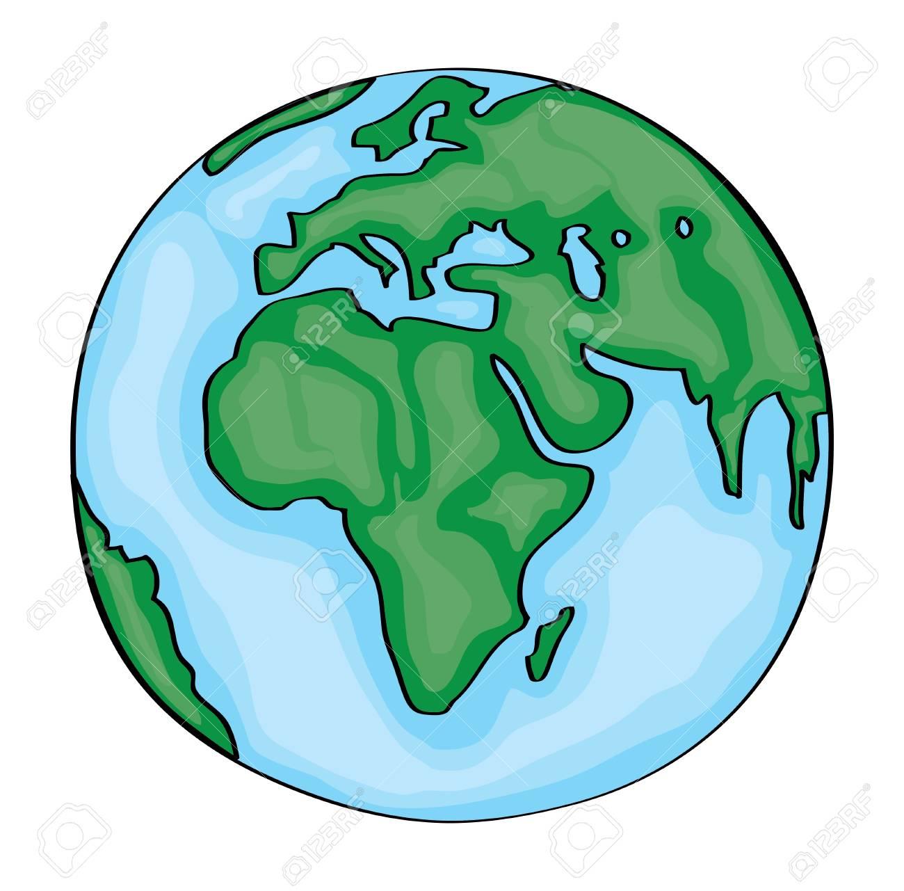 Europe Dessiné Main Mignon Terre De Dessin Animé. Vecteur destiné Image De La Terre Dessin