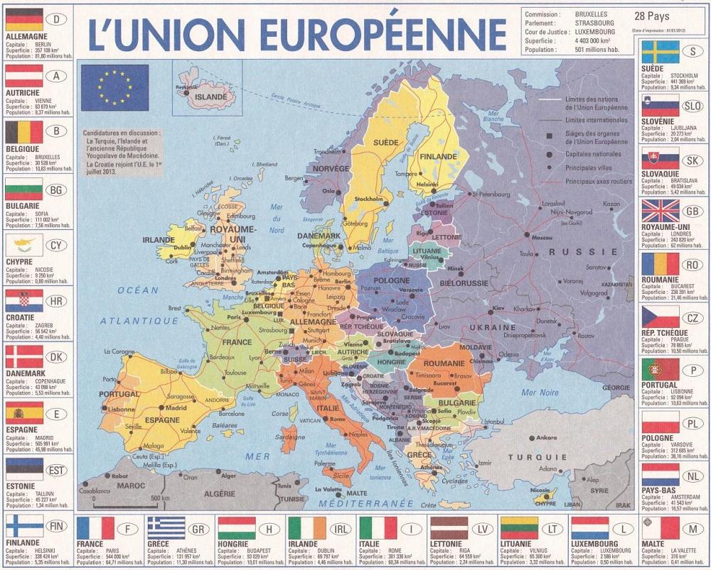 Europe Géographie encequiconcerne Carte Europe Capitales Et Pays