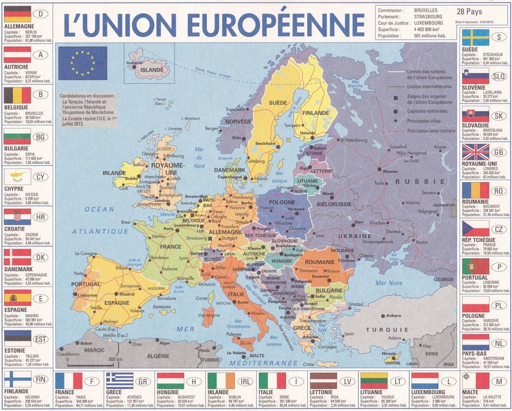 Europe Géographie serapportantà Carte Géographique De L Europe
