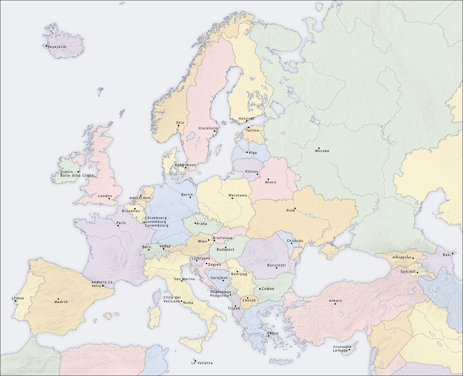 Europe Map With Capitals And Cities | Casami tout Europe Carte Capitale