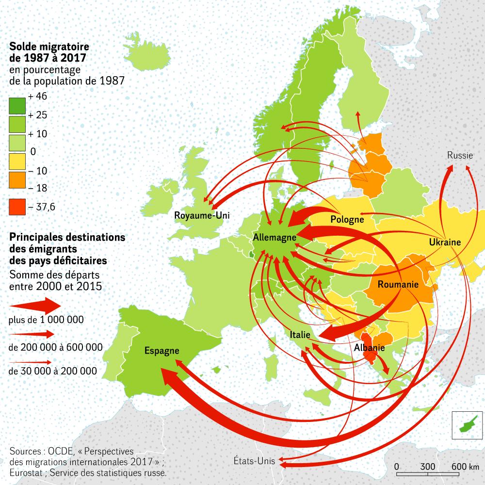 Europe - Migrations (1987-2017) • Map • Populationdata encequiconcerne Carte Europe 2017
