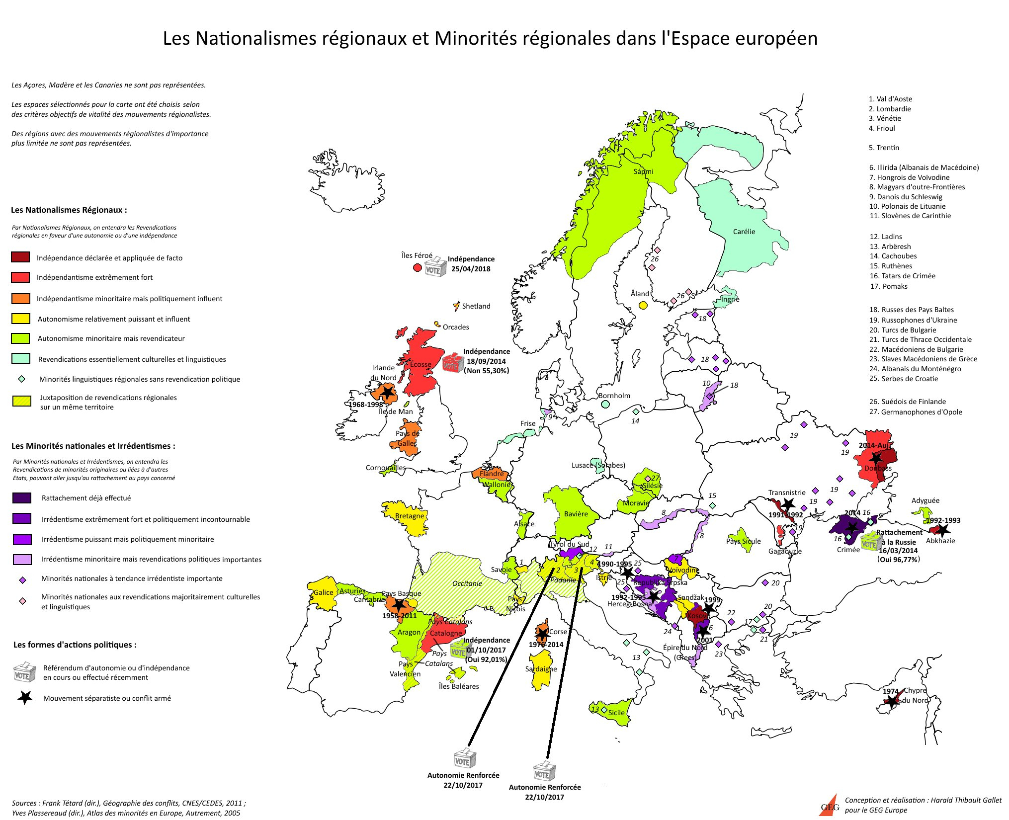 Europe - Regional Nationalism And Minorities • Map encequiconcerne Carte Europe 2017