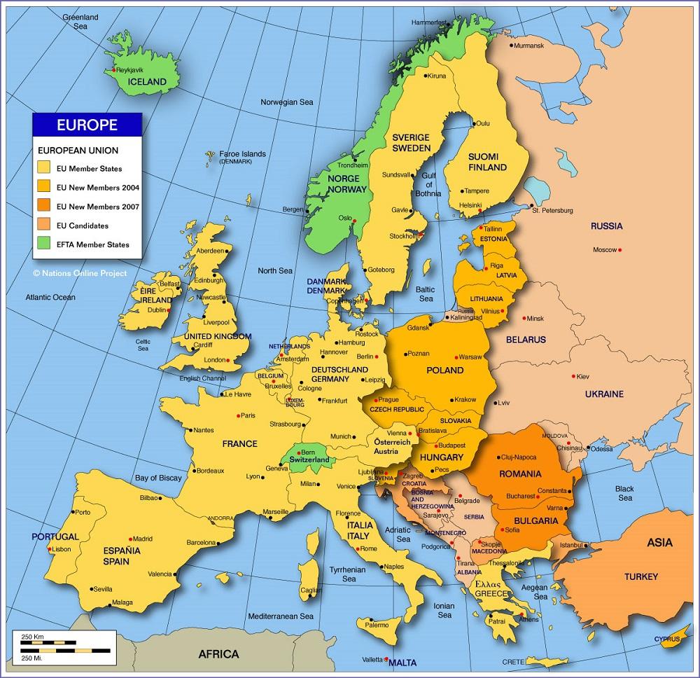 Europe, Sommaire, Politique, Géographie, Fleuves, Montagnes concernant Carte D Europe Avec Les Capitales