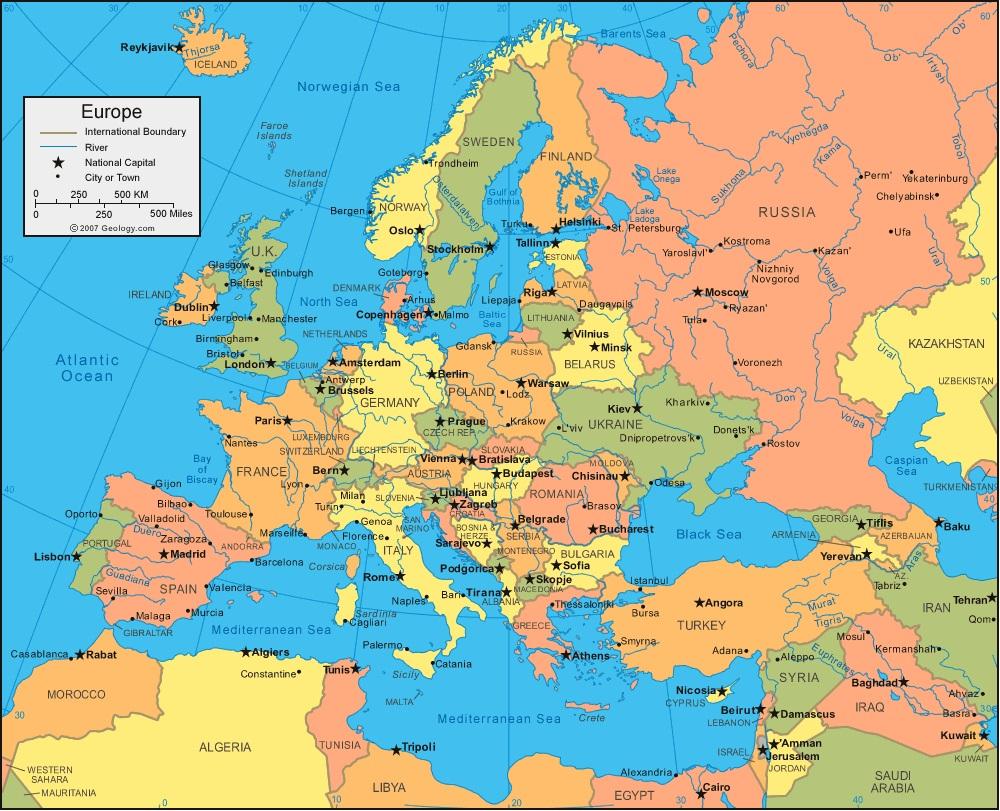Europe, Sommaire, Politique, Géographie, Fleuves, Montagnes serapportantà Carte Europe Pays Et Capitale