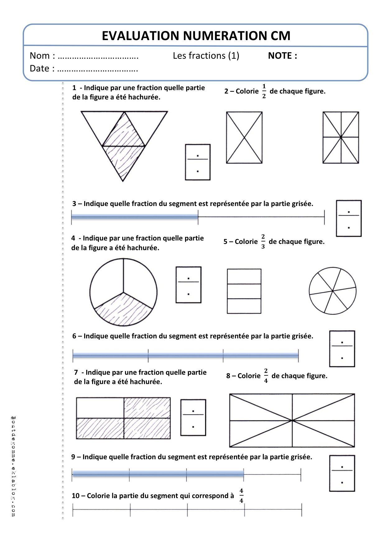 """Evaluation Cm2 Numération """"les Fractions (1)"""" - Bout De serapportantà Évaluation Cm1 Symétrie"""