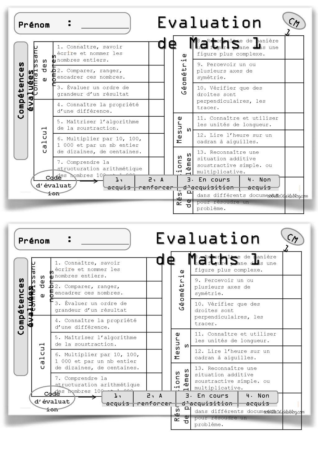 Evaluation De Maths 1 Evaluation De Maths 1 Cm1 Cm1 - Ppt dedans Évaluation Cm1 Symétrie